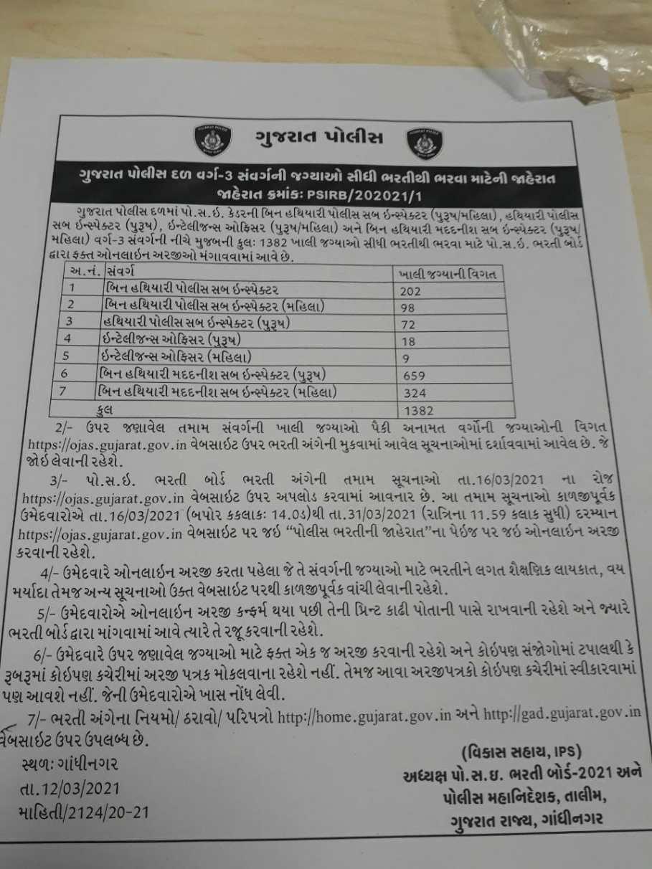 (Latest News) Gujarat Police Recruitment 2021 - 1382 PSI Posts