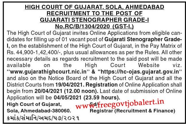 Gujarat High Court Gujarati Stenographer Recruitment 2021 Apply Online @ HC-OJAS