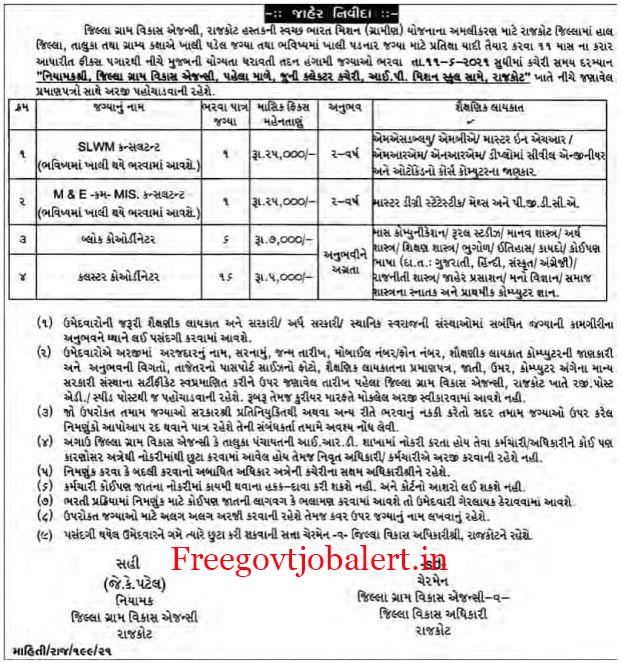 DRDA Rajkot Recruitment 2021 - 24 Block Coordinator, SLWM Consultant Posts