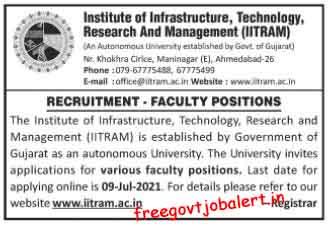IITRAM Faculty Positions Recruitment 2021 - Professor, Assistant Professor & Other Posts.