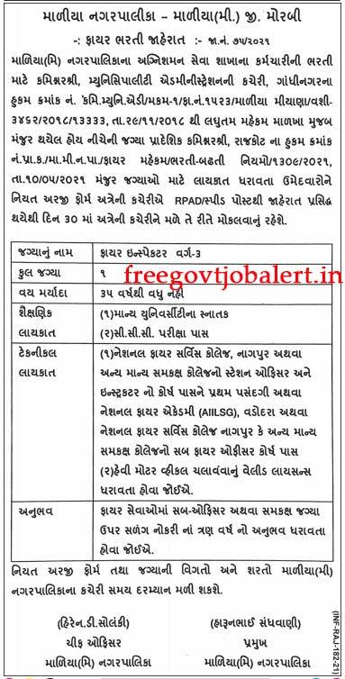 Maliya Nagarpalika Recruitment 2021 - 01 Fire Inspector Class - 3 Vacancy