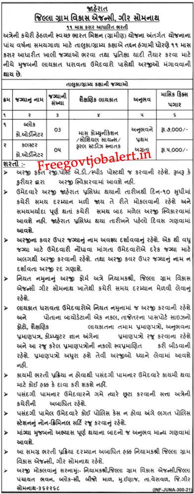 DRDA Gir Somnath Recruitment 2021 - 08 Block Coordinator & Cluster Coordinator Vacancy