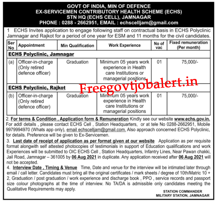 ECHS Polyclinic Jamnagar Recruitment 2021-Officer-in-Charge Posts