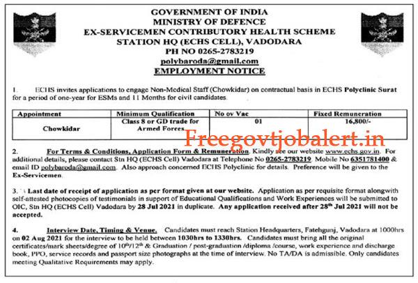 ECHS Polyclinic Surat Recruitment 2021 - Chowkidar Post