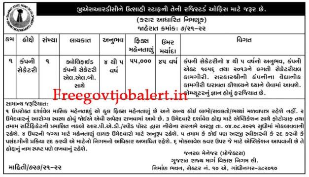 GSRDC Recruitment 2021 - Company Secretary Post