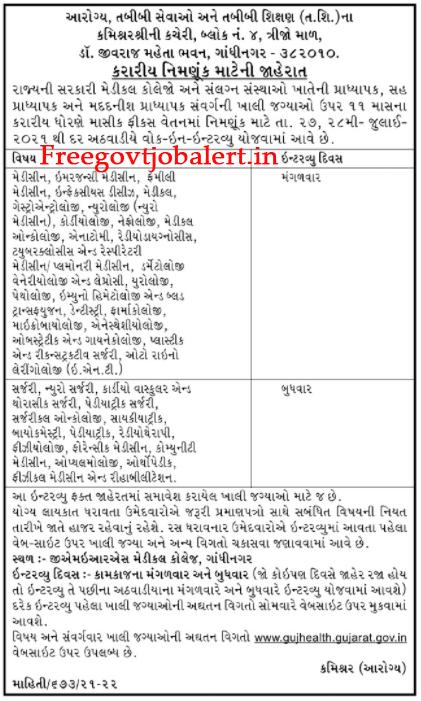 Gujarat Health Department Recruitment 2021 - Professor, Assistant Professor Posts