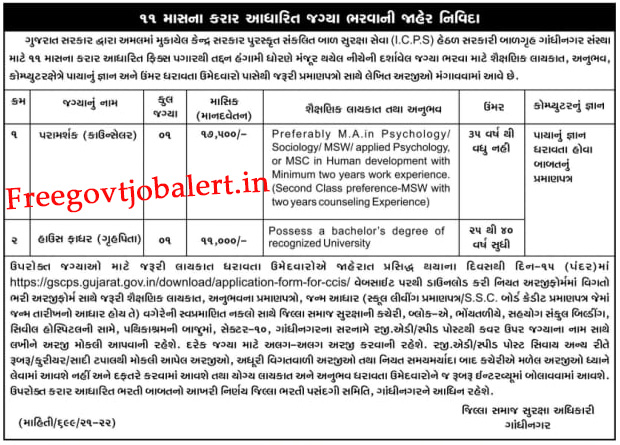 ICPS Gandhinagar Recruitment 2021 -Counselor & House Father Post