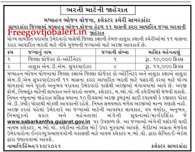 MDM Sabarkantha Recruitment 2021 - 9 Supervisor & Co-ordinator Posts