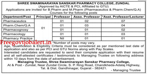 Shree Swaminarayan Sanskar Pharmacy College Zundal Recruitment 2021 - 30 Various Vacancies