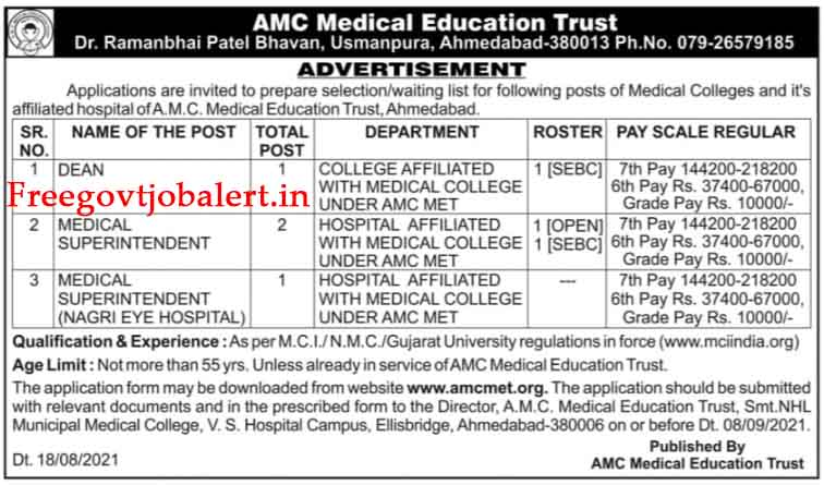 AMC Medical Education Trust Recruitment 2021 - Medical Superintendent And Other Posts
