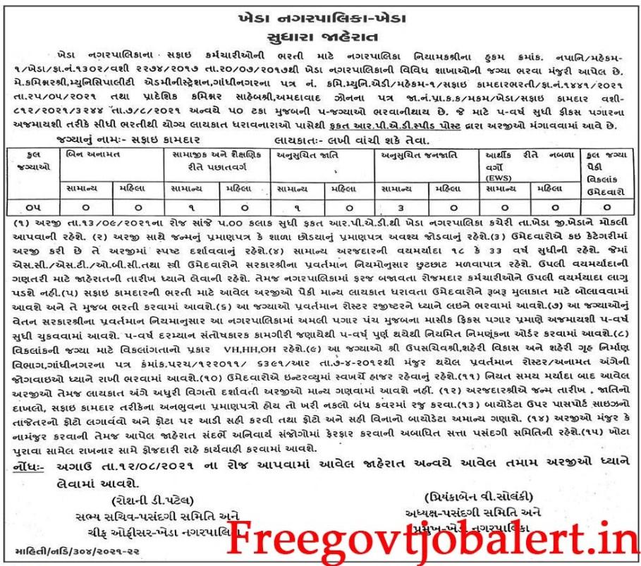 Kheda Nagarpalika 5 Safai Kamdar Recruitment 2021
