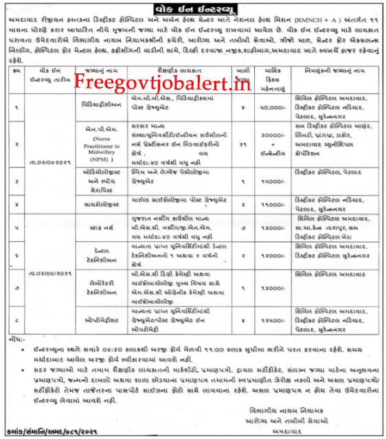 Urban Health Center Ahmedabad Recruitment 2021 - 43 Staff Nurse & Other Posts.