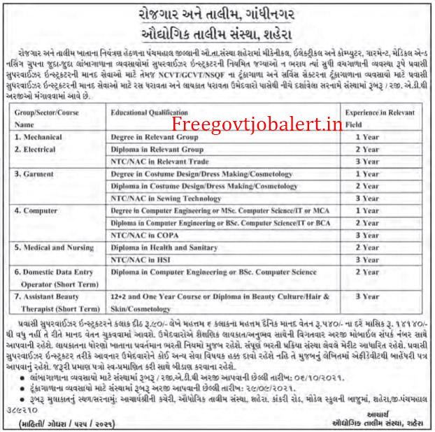 ITI Shahera Recruitment 2021 - 7+ Pravasi Supervisor Instructor Vacancy
