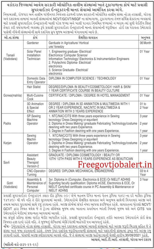 ITI Vadodara Recruitment 2021 Pravasi Supervisor Instructor Posts