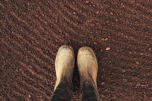 Top view of farmer rubber boots on ploughed arable land