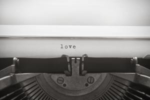 "Word ""love"" written with old typewriter"