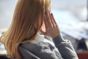 close up of woman having headache