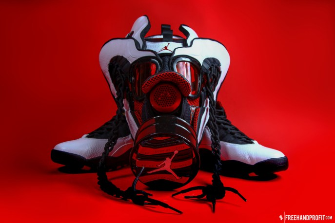 """The 20th sneaker mask created by Freehand Profit. Made from 2 pairs of 2012 Air Jordan """"Chicago X""""s. Find out more about the work on FREEHANDPROFIT.com."""