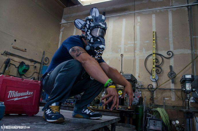 The 41st sneaker mask created by Freehand Profit. Made from 2 pairs of youth size Burn Rubber x New Balance MT580s. Find out more about the work on FREEHANDPROFIT.com.