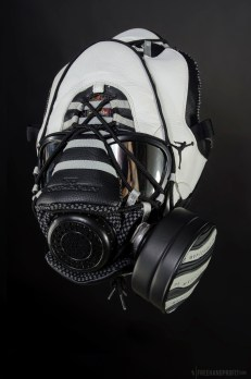"The 63rd sneaker mask created by Freehand Profit. Made from 1 pair of ""Steel"" Retro Air Jordan Xs (10s). Find out more about the work on FREEHANDPROFIT.com."
