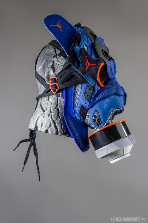 The 74th sneaker mask created by Freehand Profit. Made from 1 pairs of Jordan Spizikes. Find out more about the work on FREEHANDPROFIT.com.