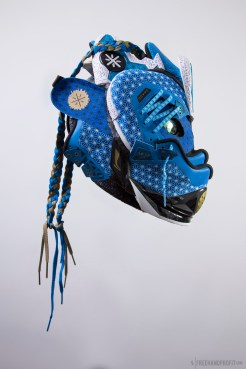The 121st sneaker mask created by Freehand Profit. Made from a single pair of Li-Ning Way of Wade 4s. Find out more about the work on FREEHANDPROFIT.com.
