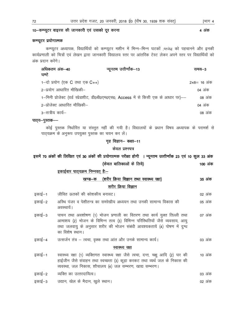 UP Board Syllabus For Class 11th 2018-19 Uttar Pradesh Board Syllabus 2018 11th Arts, Science, Commerce PDF Download