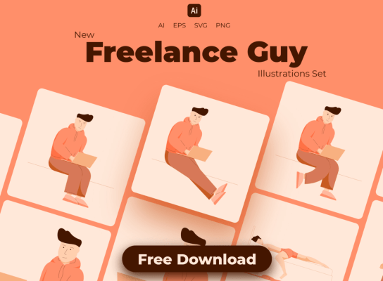 Freelance Guy Illustrations Set