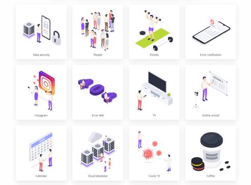 isometric free illustrations