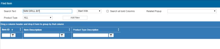 Web Client Version Find Item Popup