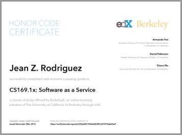 Honor Code Certificate of Achievement from EdX