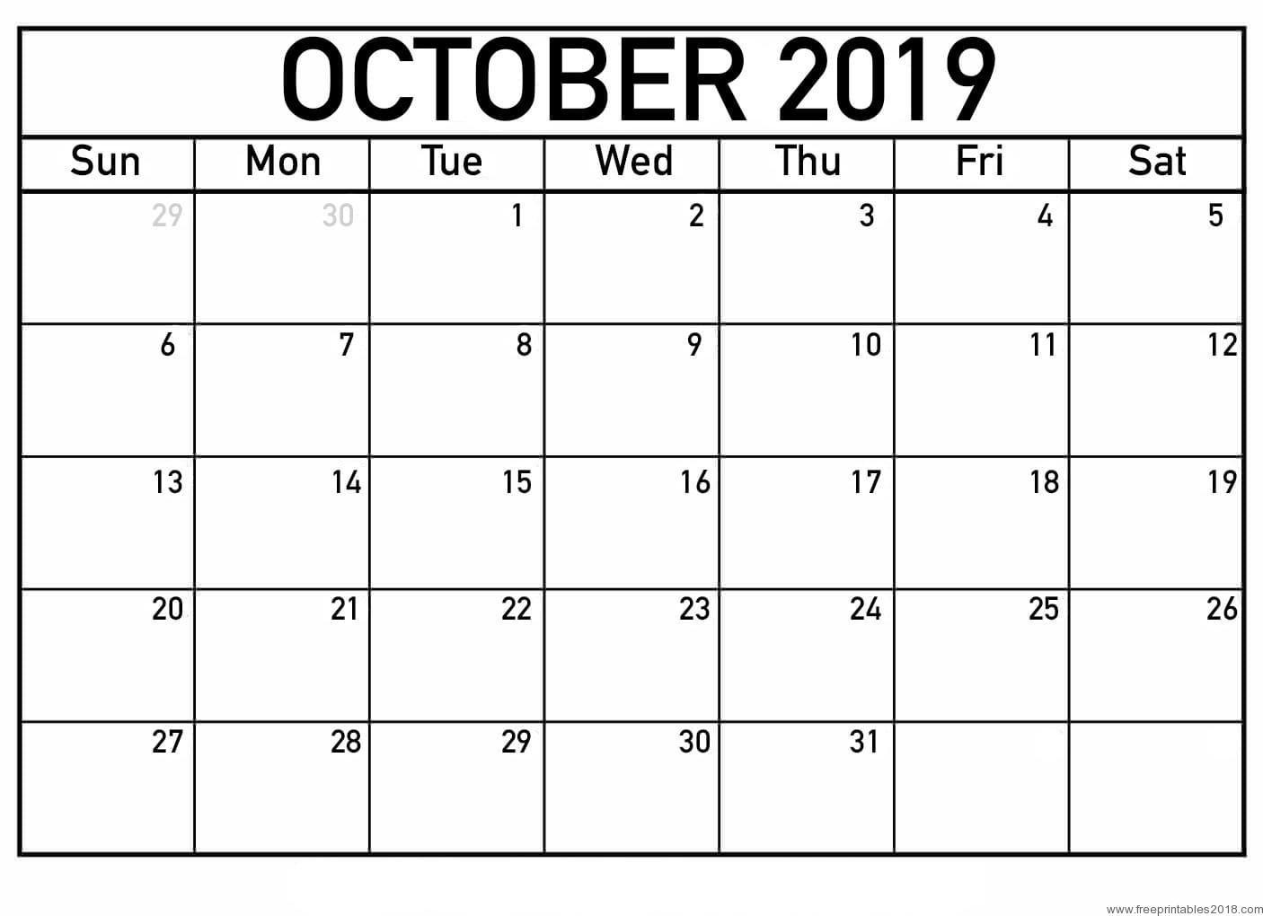 October Calendar 2019 July 2020 Calendar Printable Blank