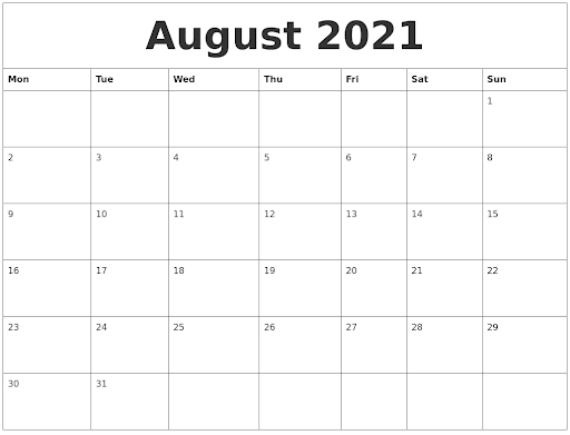 Fillable Calendar for August 2021 Printable Blank Template with Notes