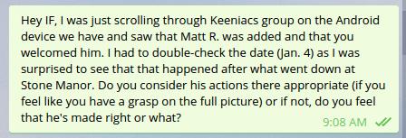 Pete's message to Ian regarding Matt's addition to Keeniacs