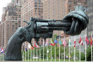 Knotted gun sculpture UN