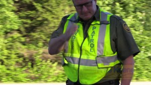 Border Patrol Agent Salutes Camera at NH Internal Oppressive Checkpoint