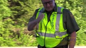 Border Patrol Agent Salutes Camera at NH Internal Oppressive Checkpoint