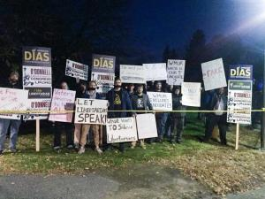Libertarians Protest Unfair Debates Outside St. Anselm College Yesterday