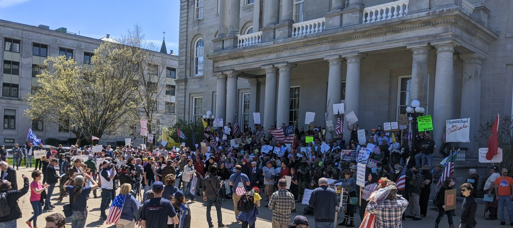 Hundreds gathered in the name of freedom on the steps of the NH state house.