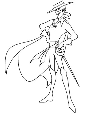 Printabel coloring pages of Zorro