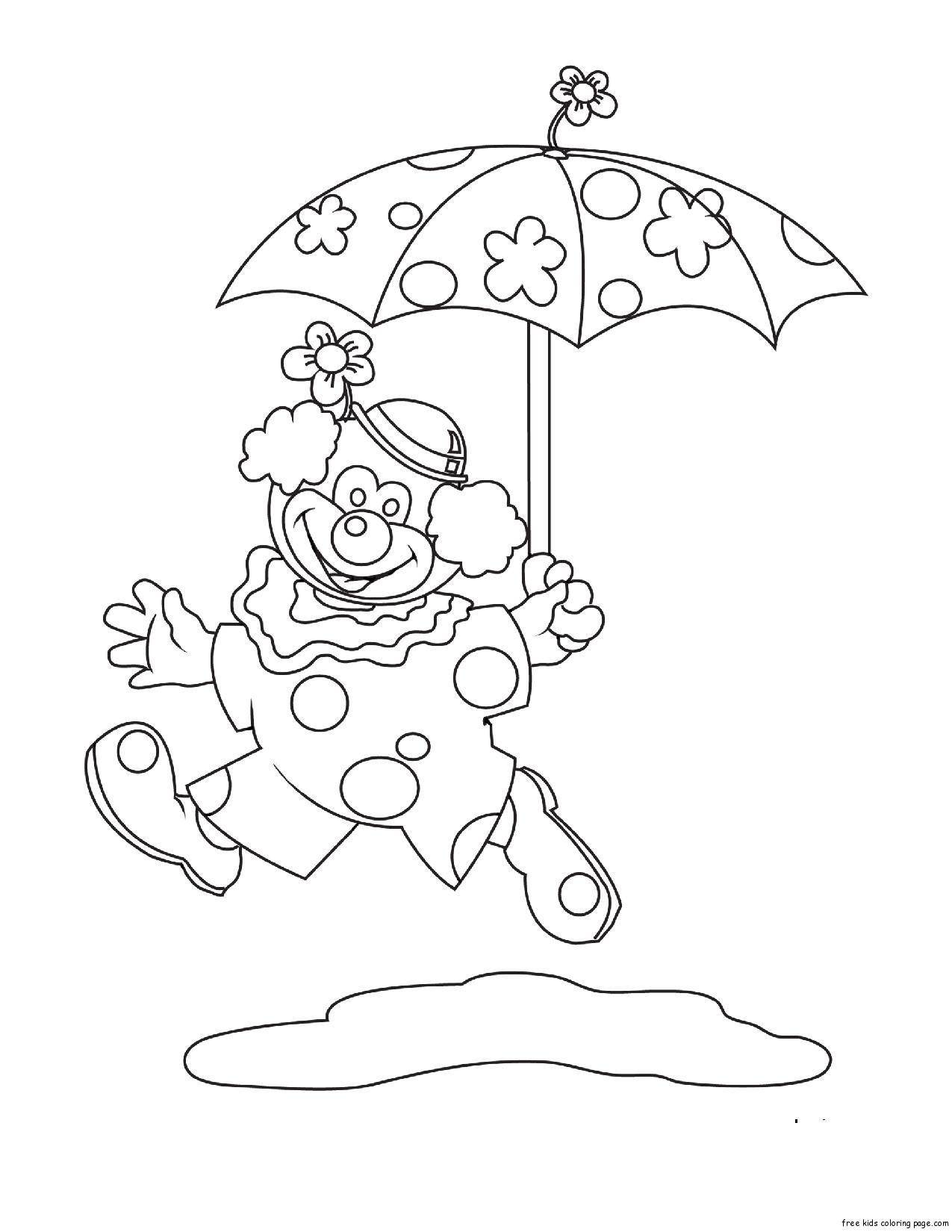 Printable Coloring Pages Clown Umbrella Free Printable