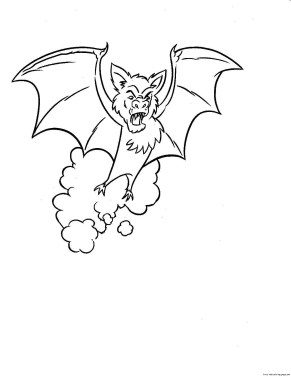 Free print out Halloween bate coloring page for kids