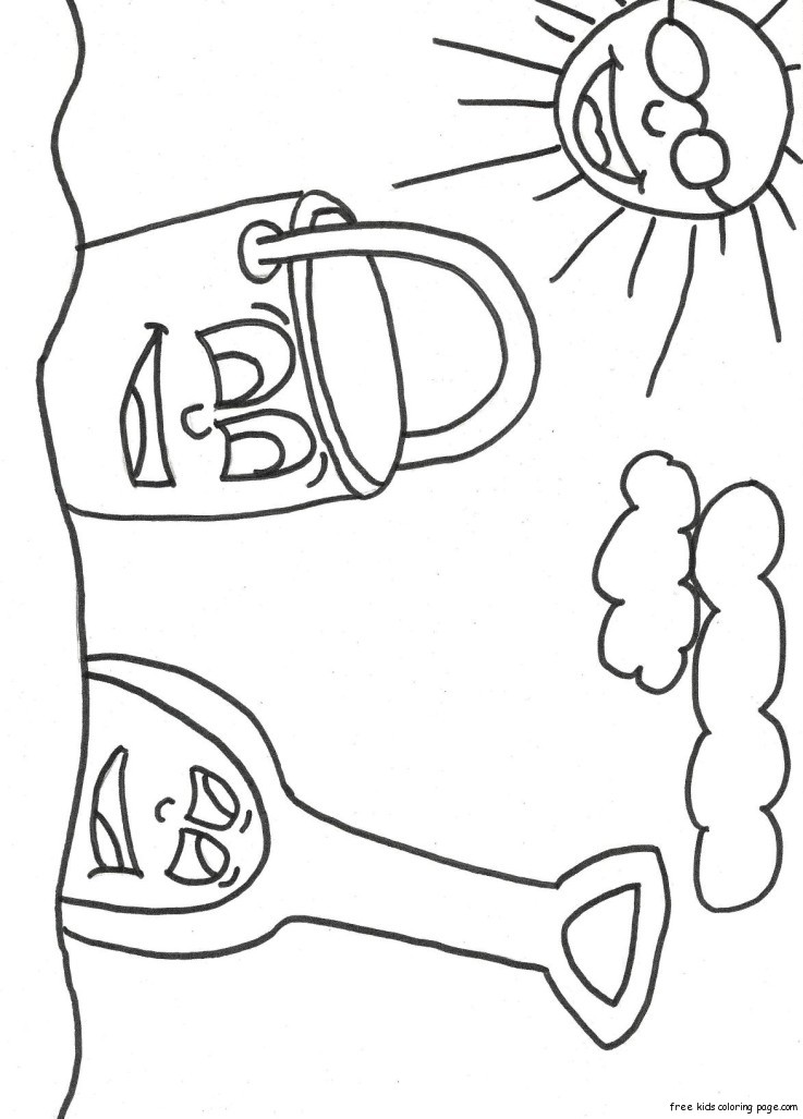 Print Out Beach Pail And Shovel Coloring Book1 Free