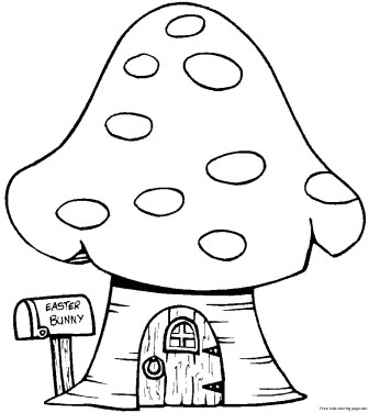 Print out Easter Bunny House Coloring Page for kids