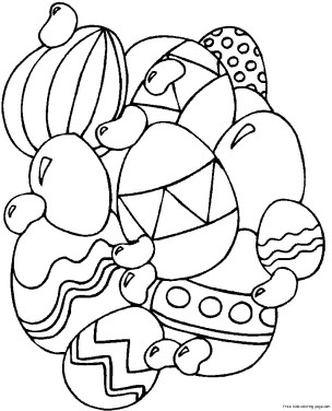 Print out Easter Eggs Coloring Page for kids