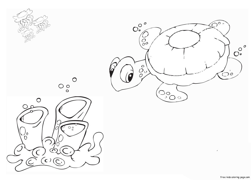 Printable Coloring Pages Turtle In Ocean For KidsFree