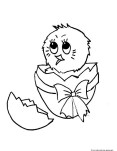 Printable Chick Hatching from Egg coloring page
