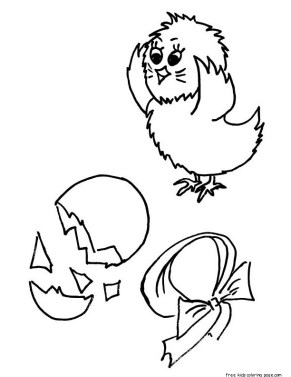 Printable baby chick hatching coloring page for kids.