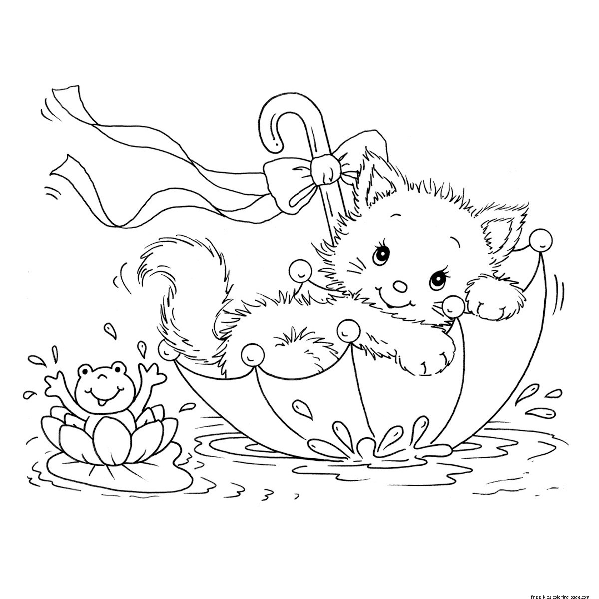 printable coloring pages kitty cat and frog in umbrellafree