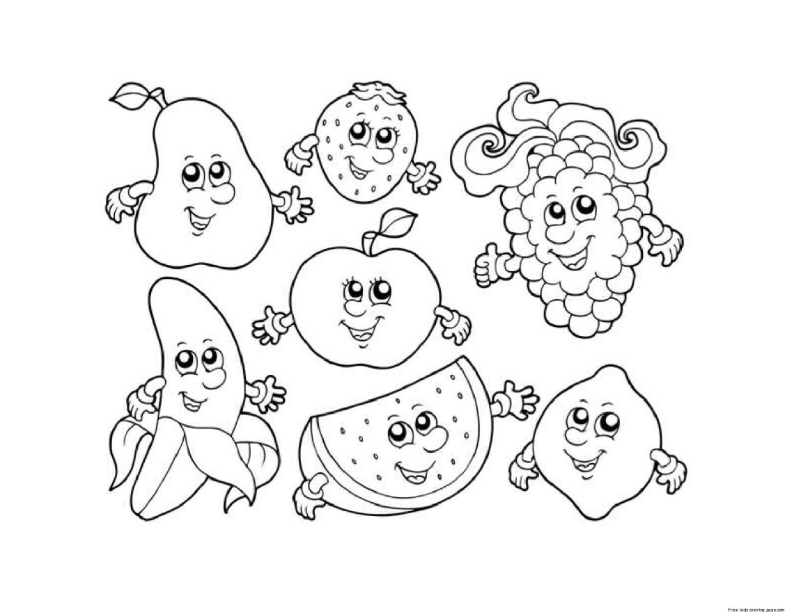 Apple Watermelon Strawberry Banana Grape coloring pages ...   fruits coloring pages for kindergarten